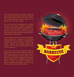 Hot bbq barbeque party poster vector