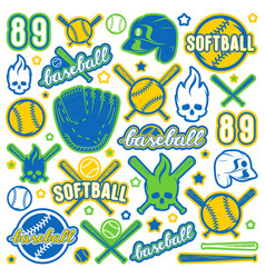 Icon and badge set of baseball and softball vector