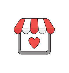 Icon concept store with heart vector