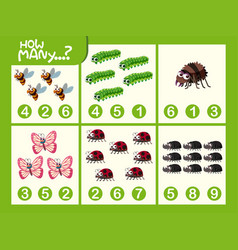 Insect math number worksheet vector