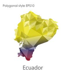 Isolated icon ecuador map polygonal geometric vector