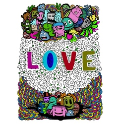 Love art on doodle vector image