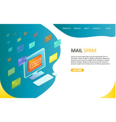 mail spam landing page website template vector image