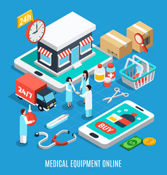 medical equipment isometric concept vector image