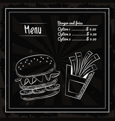 menu fast food vector image