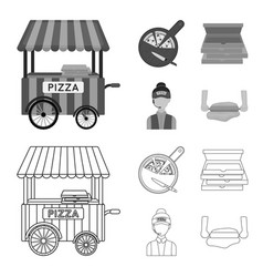 Mobile trailer cutting board for pizza boxes vector
