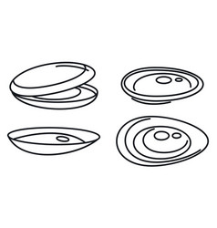 Mussels food icons set outline style vector