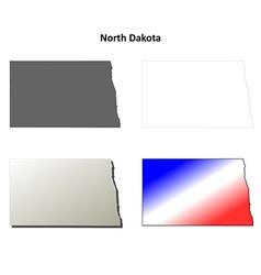 North Dakota outline map set vector image