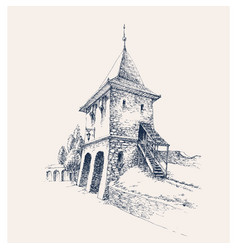 old city citadel stone gate artistic hand drawing vector image