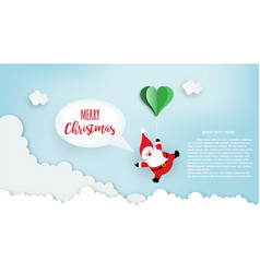 paper art santa claus floated with heart vector image