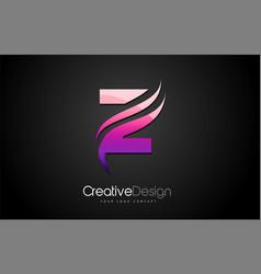 purple violet z letter logo design brush paint vector image