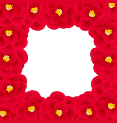 red camellia flower border vector image