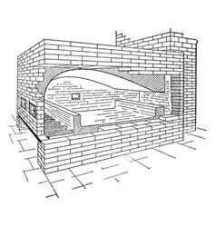 Reverbatory furnace vintage vector