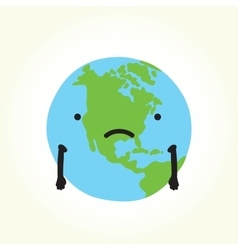 Sad planet Earth vector