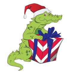 santa crocodile with giftbox vector image