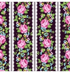 Seamless floral pattern with pink roses forget-me vector