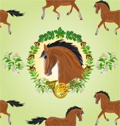 Seamless texture dark Horse head of stallion vector image
