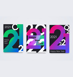 set happy new year 2021 posters minimalist vector image