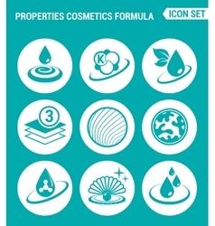 Set of round icons white Properties cosmetics vector