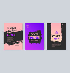 Set of stroke cover design purple pink vector