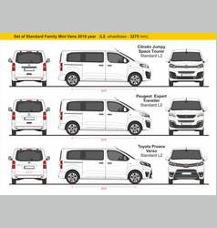 Set standard l2 family mini vans 2016 vector