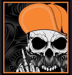 Skull head wearing a hat vector