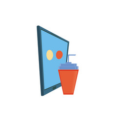 Smartphone with delivery food app and soda glass vector