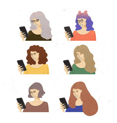 Smiling woman with mobile phone women in vector