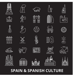 spain editable line icons set on black vector image