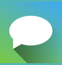 Speech bubble icon white icon with gray dropped vector