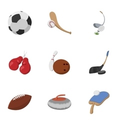 Sports accessories icons set cartoon style vector image vector image