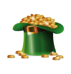 St patrick day hat coins golden shiny vector