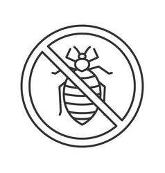 Stop bed bug sign linear icon vector