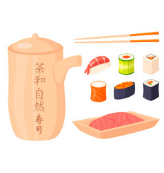 Sushi rolls food and japanese gourmet vector