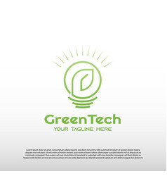 Technology logo with line art design bulb lamp vector
