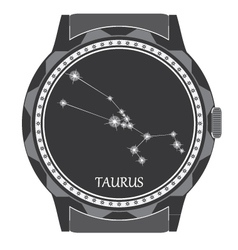 The watch dial with the zodiac sign Taurus vector image