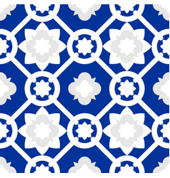 Tile indigo blue decorative floor tiles pattern vector