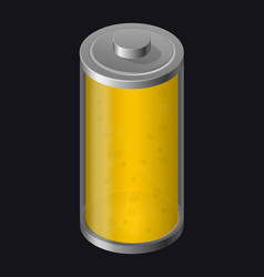 transparent glass battery yellow color vector image