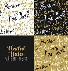 Travel america usa pattern city new york gold vector