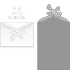 Tri fold Laser Cut Invitation Card vector image