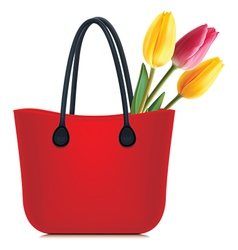Tulips in shopping bag vector image