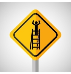 Under construction road sign worker on stair vector