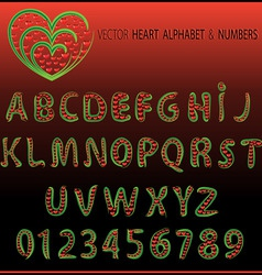 Vector heart alphabet and numbers vector