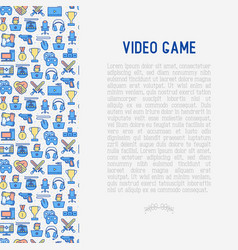 Video game concept with thin line icons vector