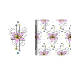 Watercolor lily print and seamless pattern vector