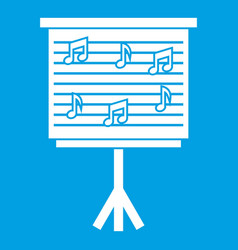 Whiteboard with music notes icon white vector