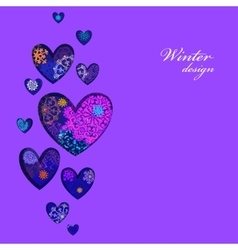 Winter heart design with pink and blue snowflakes vector