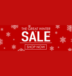 Winter sale with snowflakes on red background vector