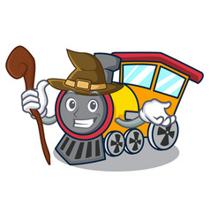 witch train mascot cartoon style vector image