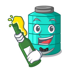 With beer cartoon water tank for in agriculture vector